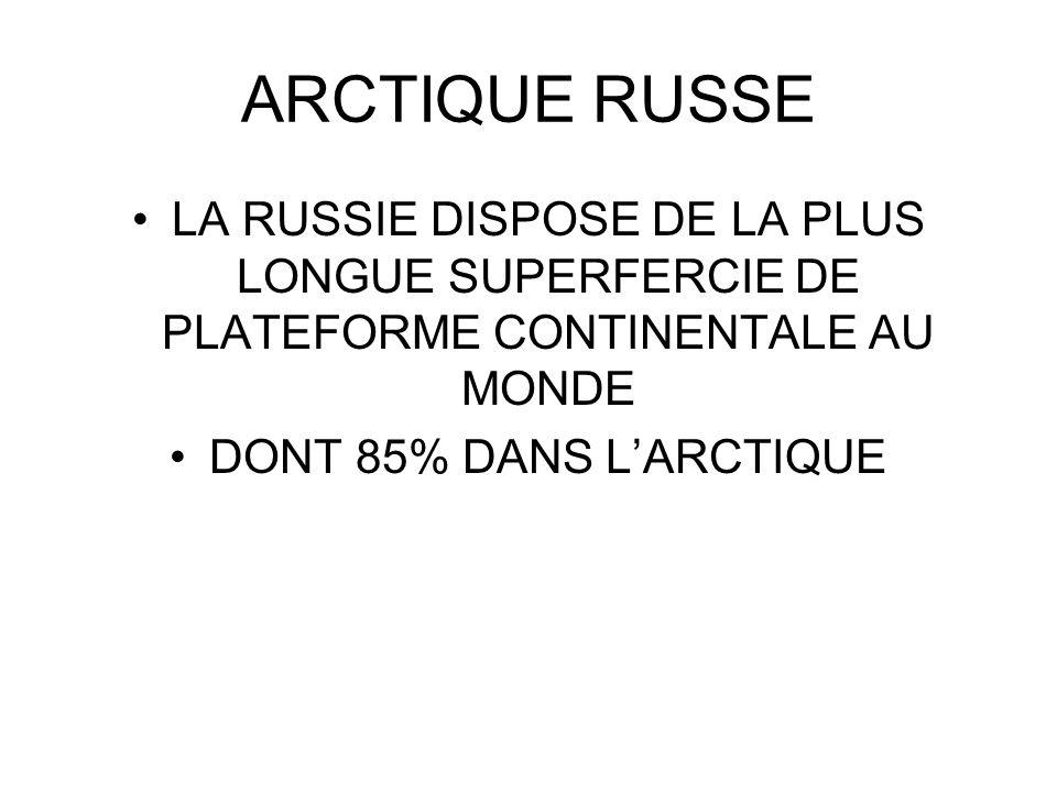 ARCTIQUE RUSSE LA RUSSIE DISPOSE DE LA PLUS LONGUE SUPERFERCIE DE PLATEFORME CONTINENTALE AU MONDE.