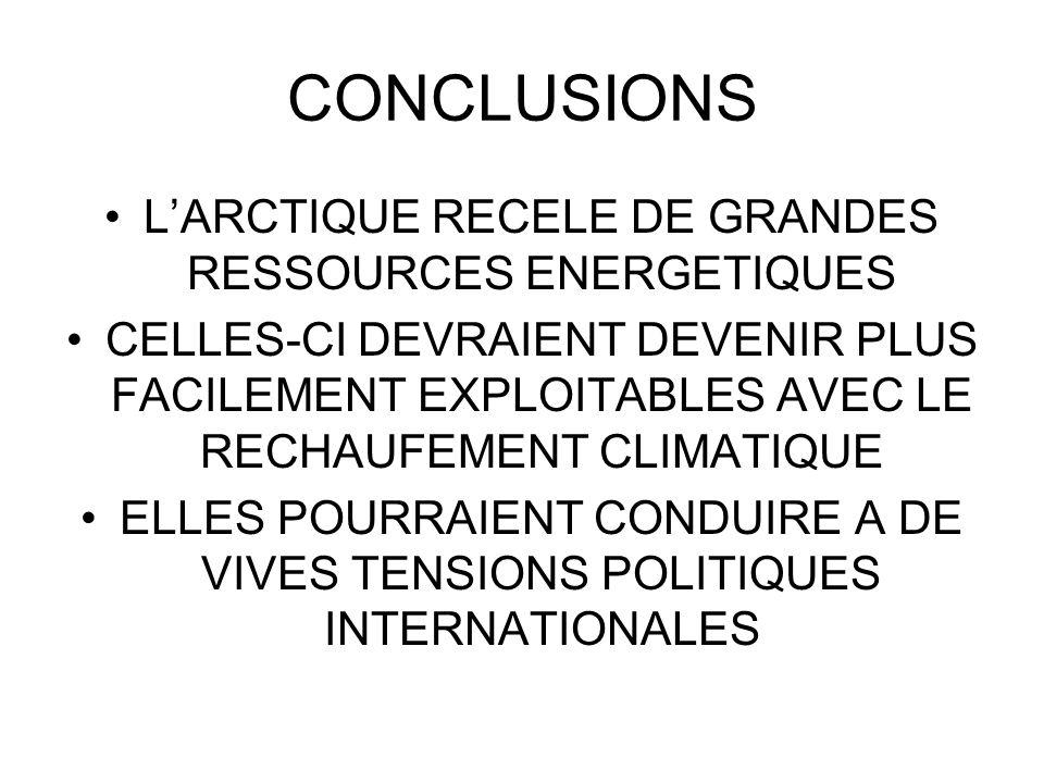 L'ARCTIQUE RECELE DE GRANDES RESSOURCES ENERGETIQUES