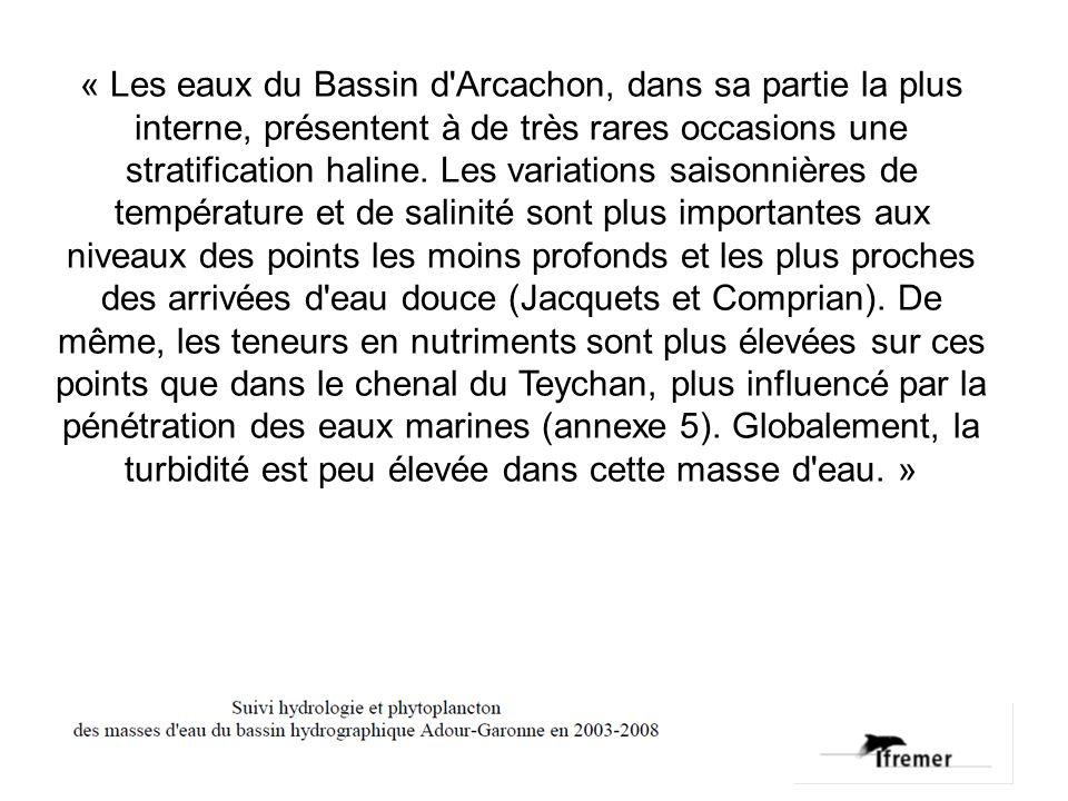 « Les eaux du Bassin d Arcachon, dans sa partie la plus interne, présentent à de très rares occasions une stratification haline.