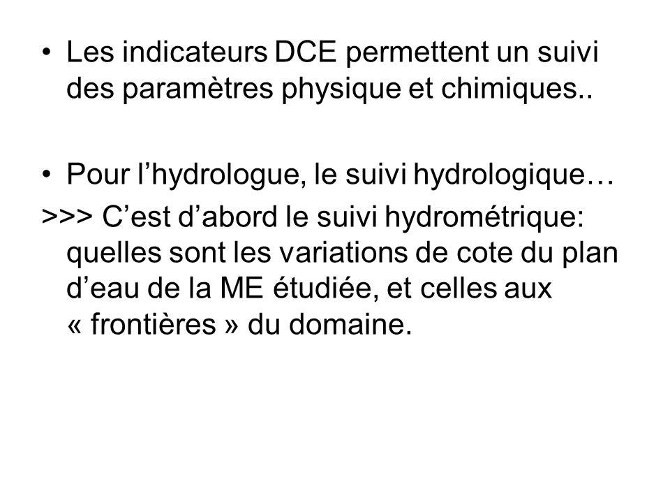 Les indicateurs DCE permettent un suivi des paramètres physique et chimiques..