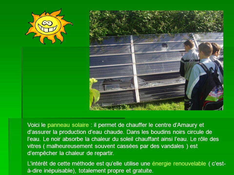 Voici le panneau solaire : il permet de chauffer le centre d'Amaury et d'assurer la production d'eau chaude. Dans les boudins noirs circule de l'eau. Le noir absorbe la chaleur du soleil chauffant ainsi l'eau. Le rôle des vitres ( malheureusement souvent cassées par des vandales ) est d'empêcher la chaleur de repartir.