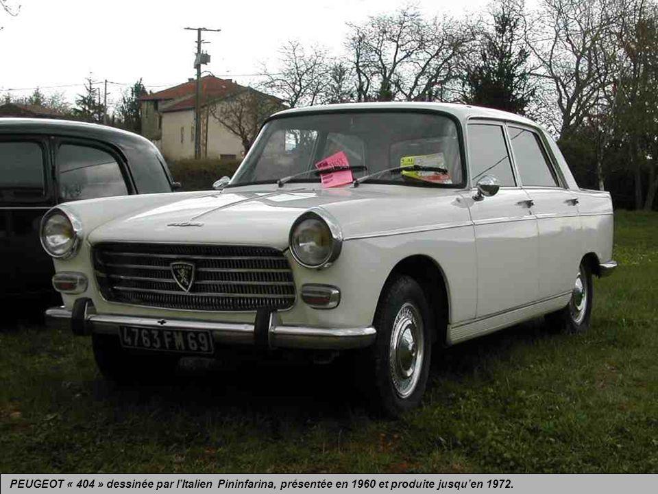 PEUGEOT « 404 » dessinée par l'Italien Pininfarina, présentée en 1960 et produite jusqu'en 1972.