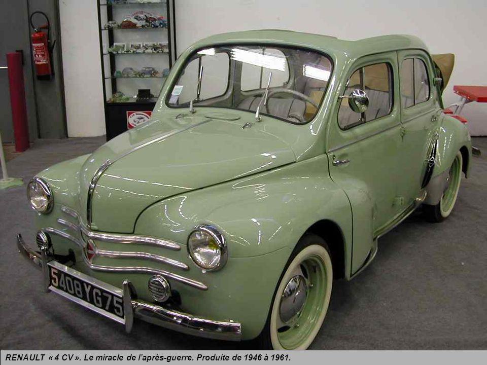 RENAULT « 4 CV ». Le miracle de l'après-guerre. Produite de 1946 à 1961.