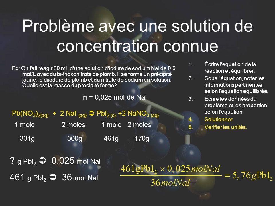 Problème avec une solution de concentration connue