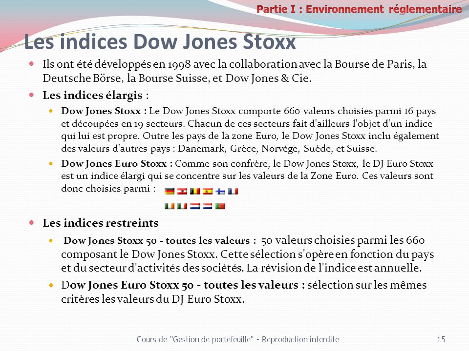 Les indices Dow Jones Stoxx