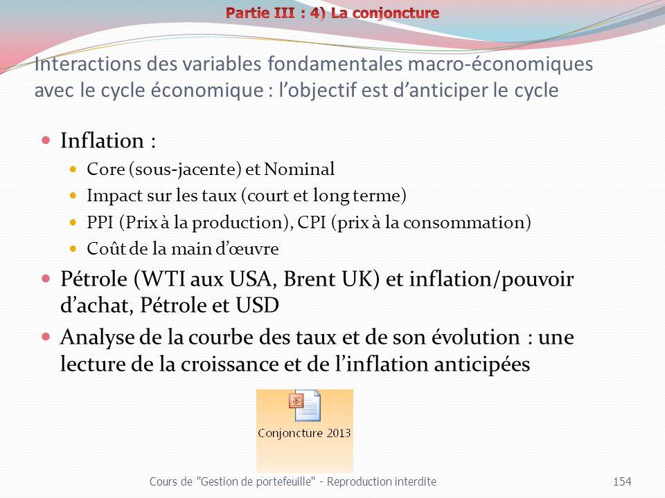 Partie III : 4) La conjoncture
