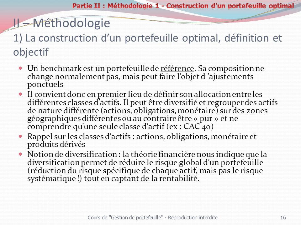 Partie II : Méthodologie 1 - Construction d'un portefeuille optimal