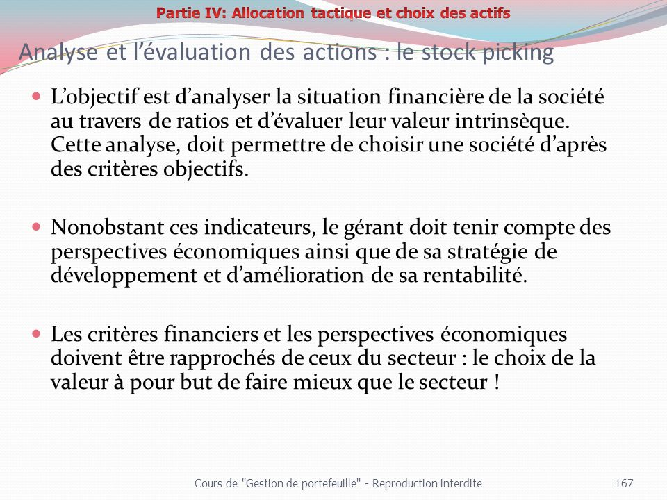 Analyse et l'évaluation des actions : le stock picking