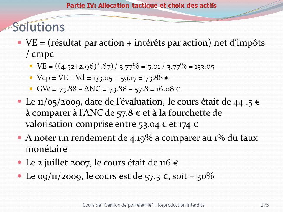 Partie IV: Allocation tactique et choix des actifs