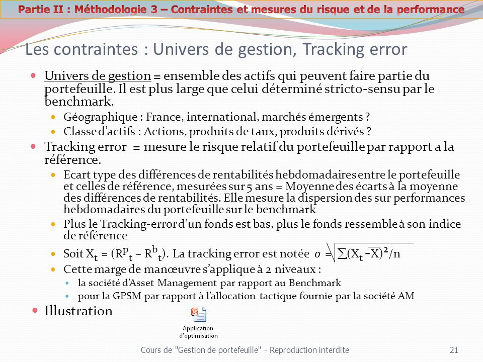 Les contraintes : Univers de gestion, Tracking error