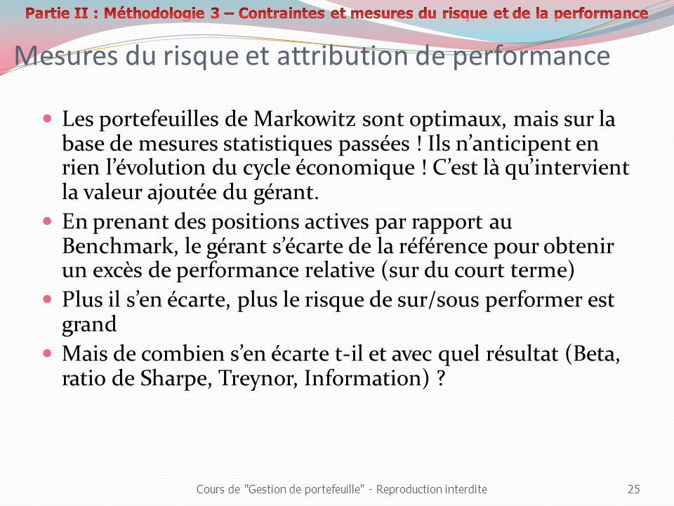 Mesures du risque et attribution de performance