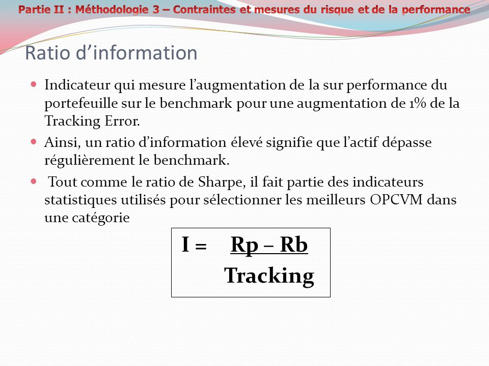 Ratio d'information I = Rp – Rb Tracking