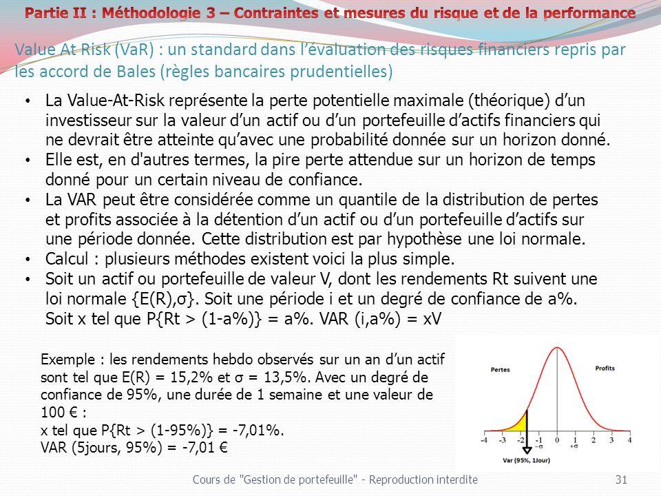 Partie II : Méthodologie 3 – Contraintes et mesures du risque et de la performance