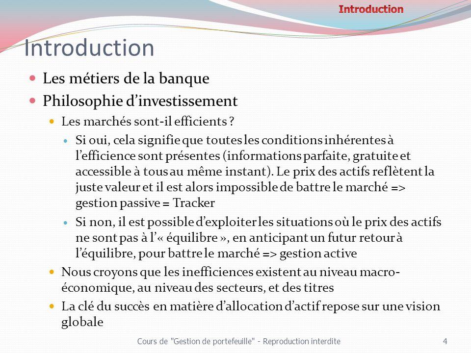 Introduction Les métiers de la banque Philosophie d'investissement