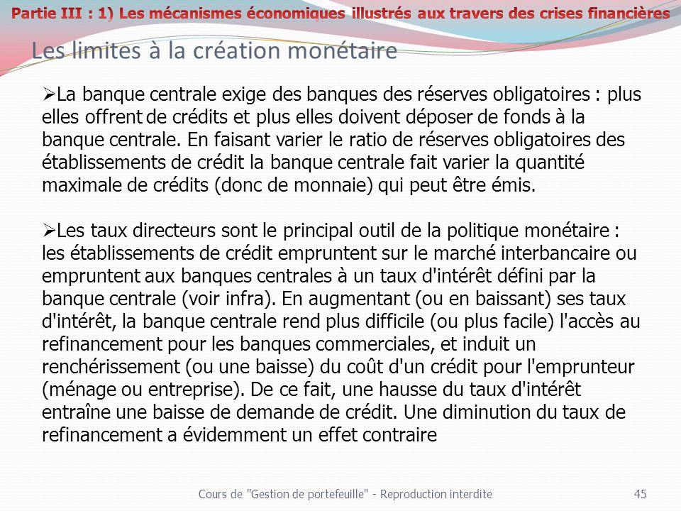 Les limites à la création monétaire