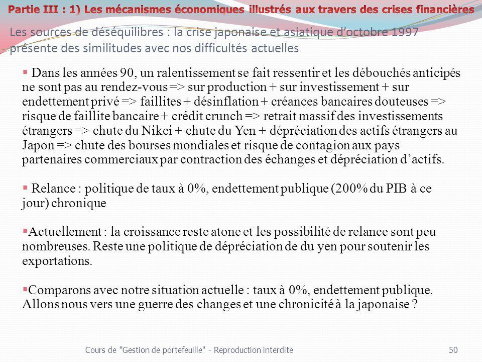 Partie III : 1) Les mécanismes économiques illustrés aux travers des crises financières