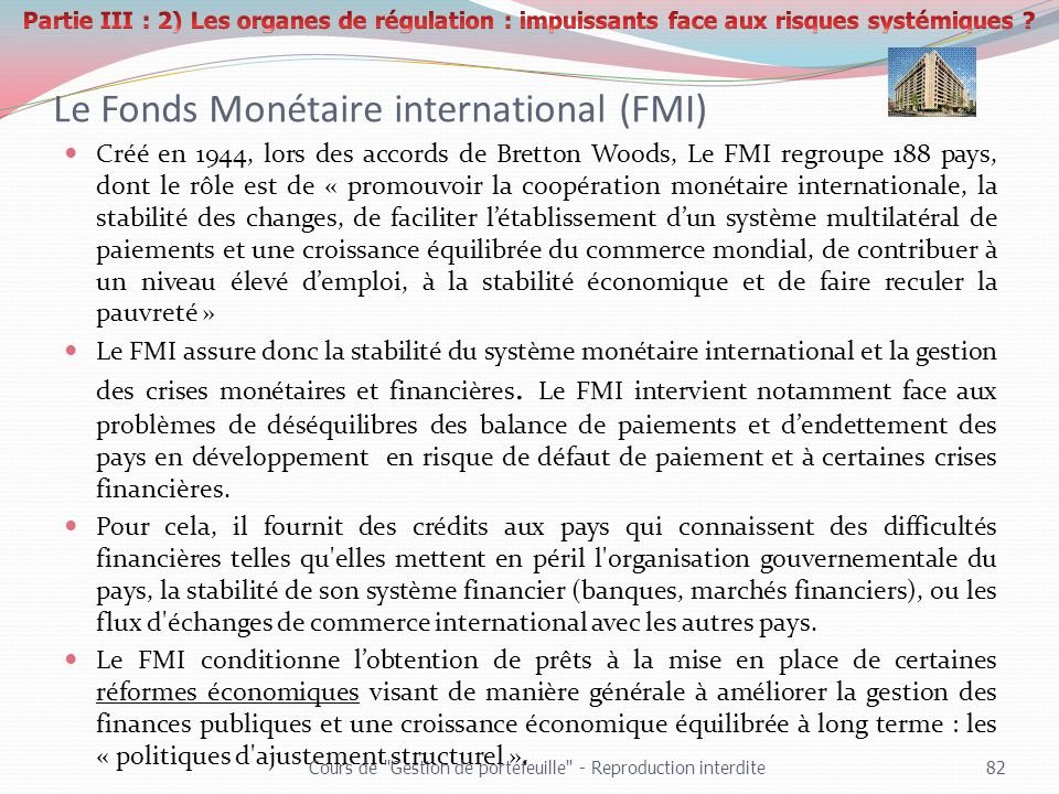 Le Fonds Monétaire international (FMI)