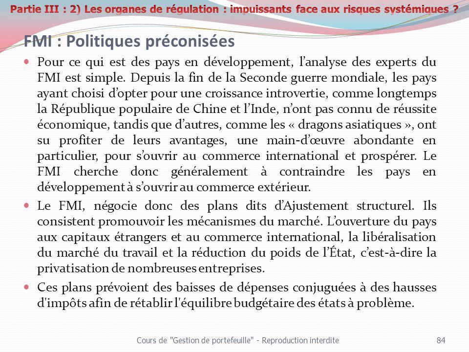 FMI : Politiques préconisées