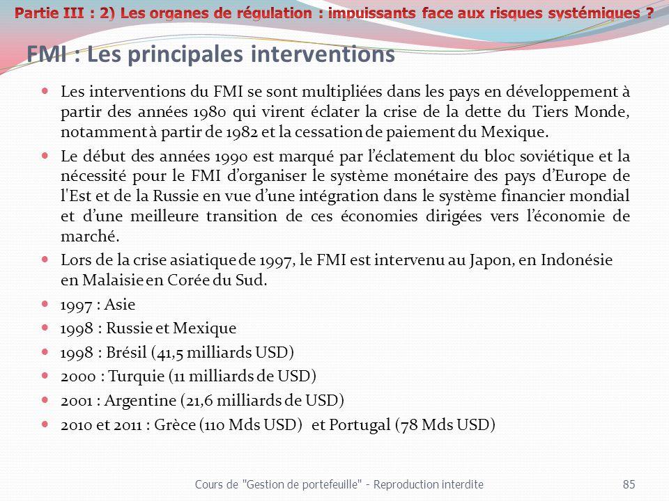 FMI : Les principales interventions