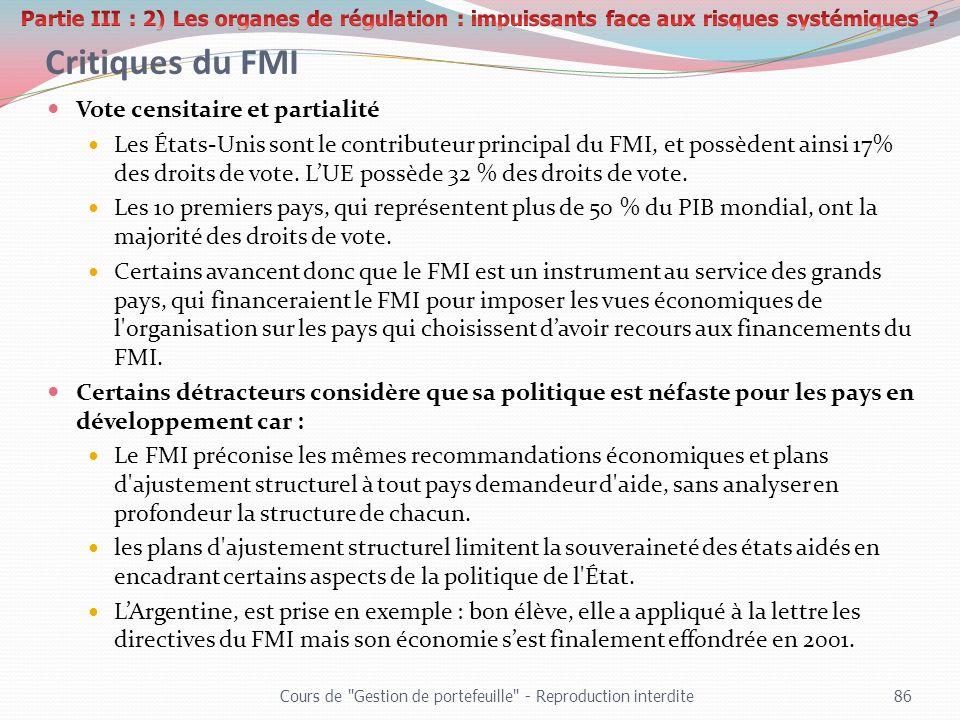 Critiques du FMI Vote censitaire et partialité