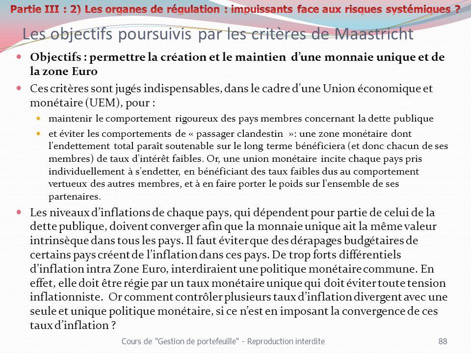 Les objectifs poursuivis par les critères de Maastricht