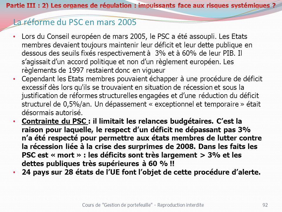 La réforme du PSC en mars 2005