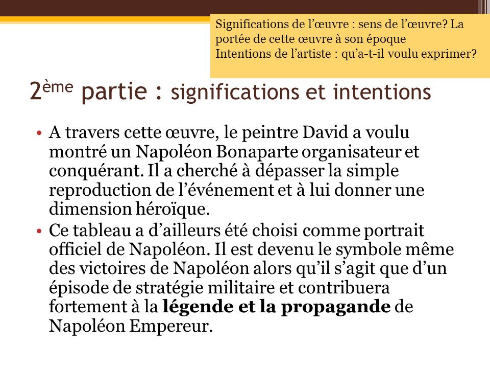 2ème partie : significations et intentions