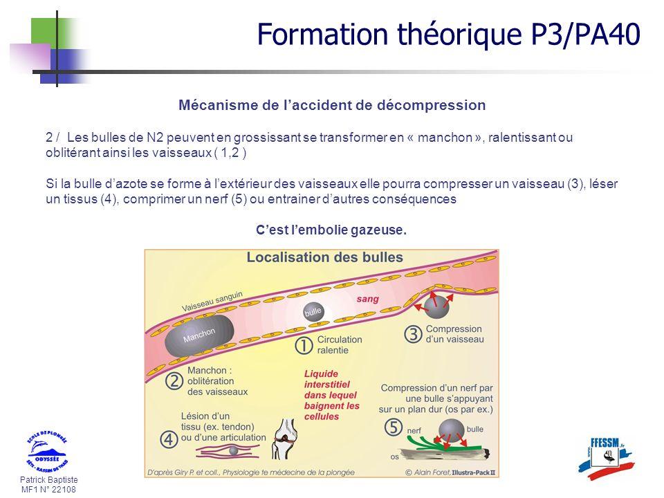 Mécanisme de l'accident de décompression C'est l'embolie gazeuse.
