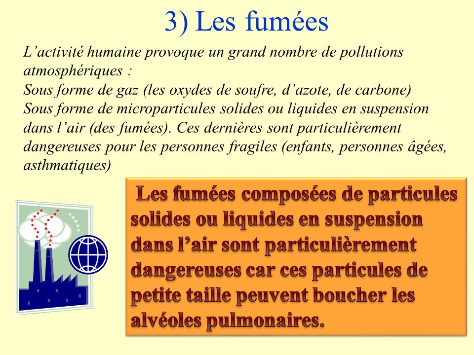 3) Les fumées L'activité humaine provoque un grand nombre de pollutions atmosphériques :
