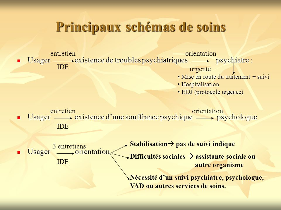 Principaux schémas de soins