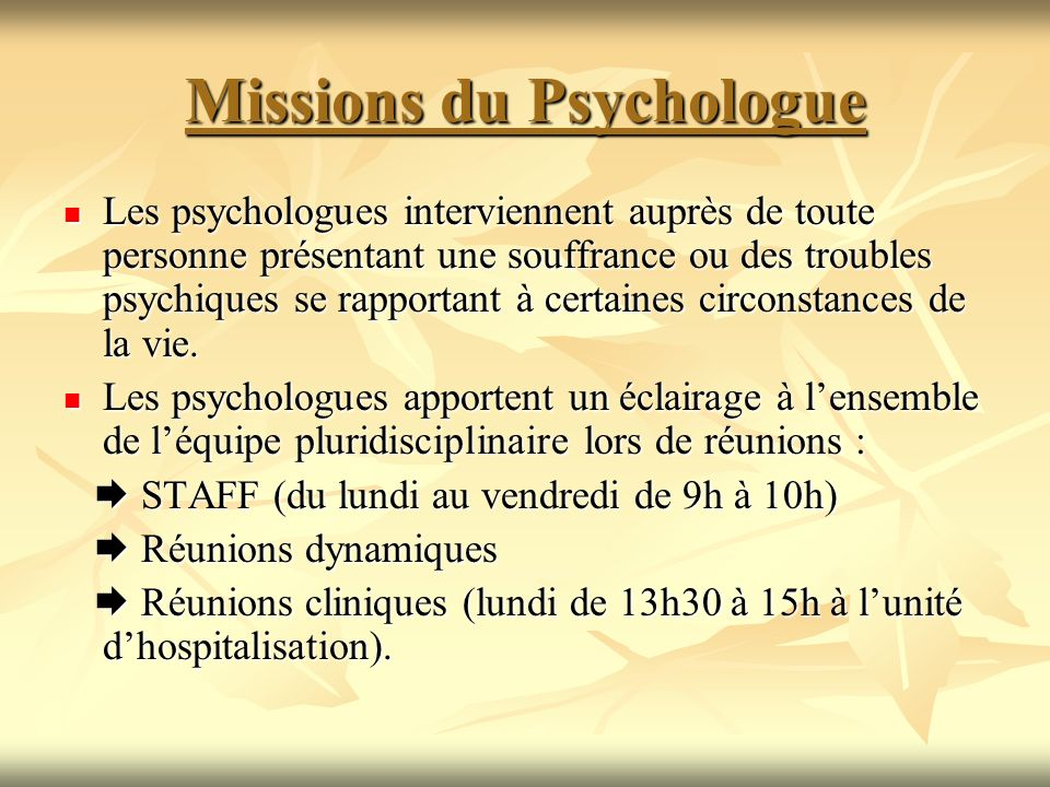 Missions du Psychologue