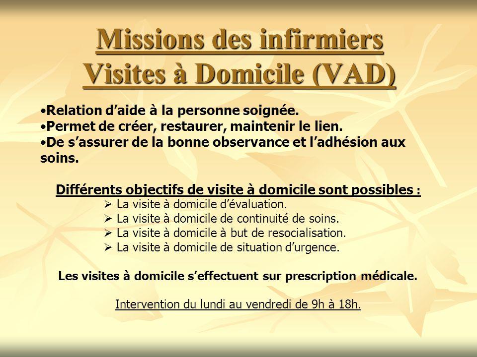 Missions des infirmiers Visites à Domicile (VAD)
