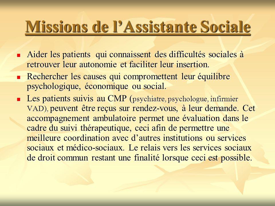 Missions de l'Assistante Sociale