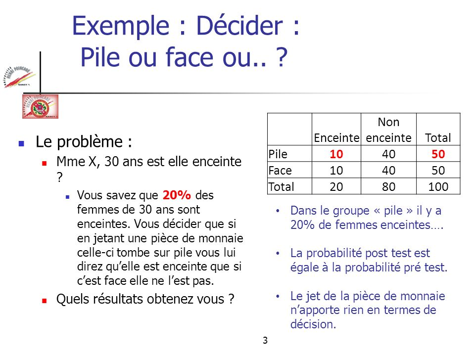 Exemple : Décider : Pile ou face ou..