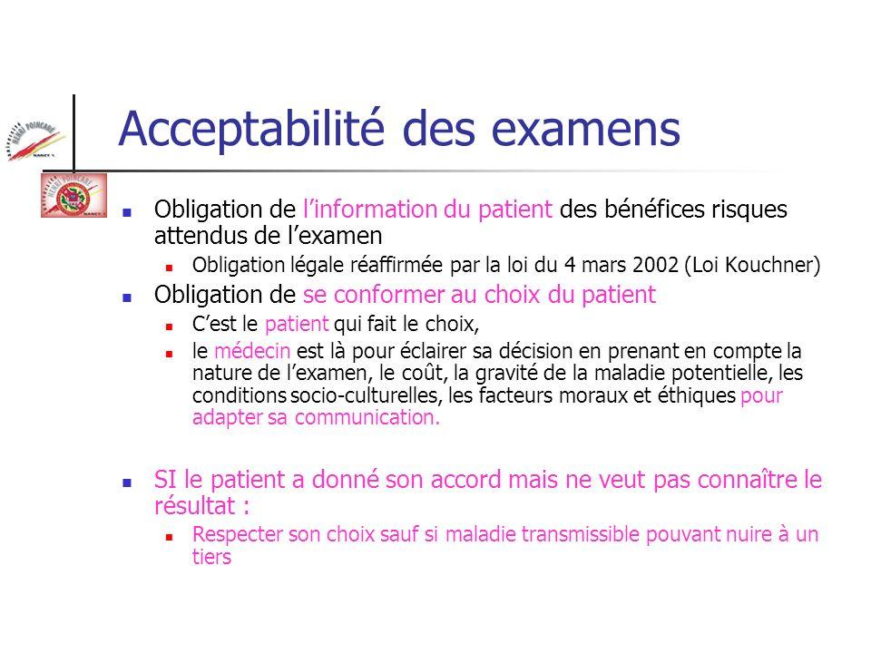 Acceptabilité des examens