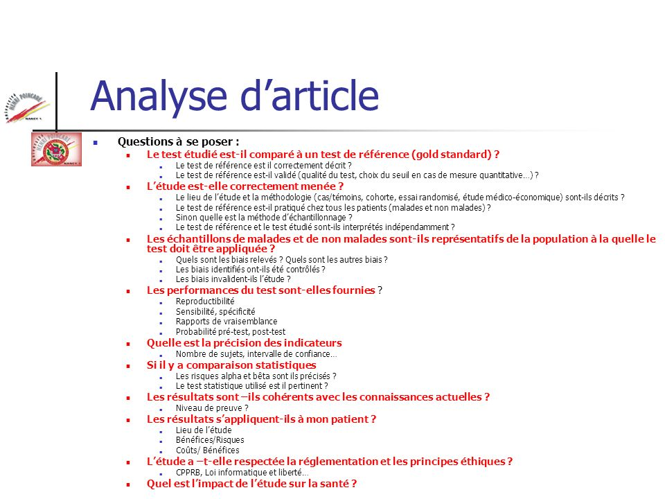 Analyse d'article Questions à se poser :