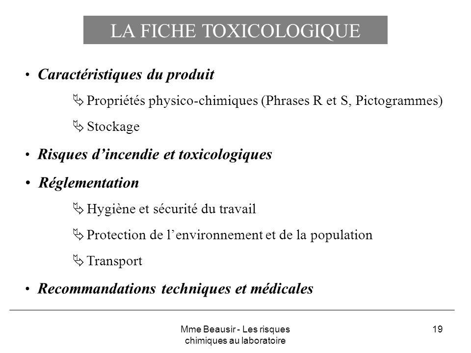LA FICHE TOXICOLOGIQUE