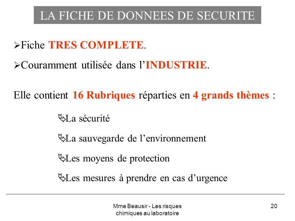 LA FICHE DE DONNEES DE SECURITE