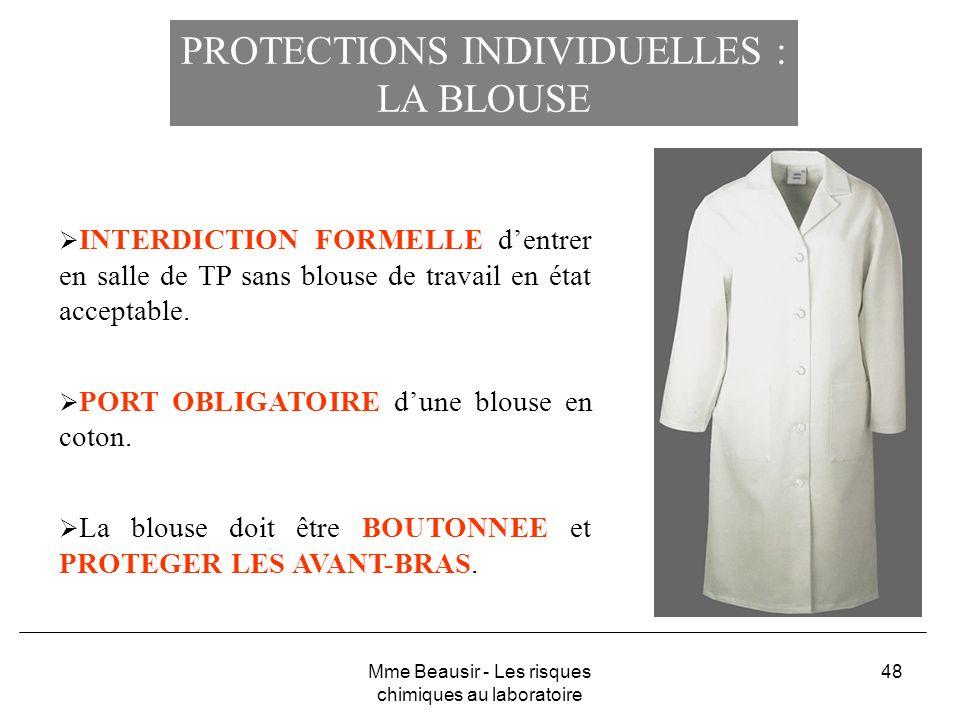 PROTECTIONS INDIVIDUELLES : LA BLOUSE