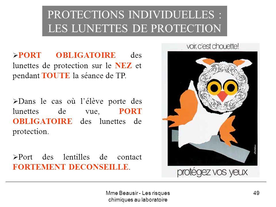 PROTECTIONS INDIVIDUELLES : LES LUNETTES DE PROTECTION