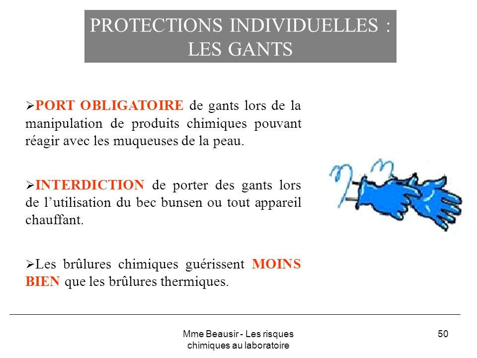 PROTECTIONS INDIVIDUELLES : LES GANTS