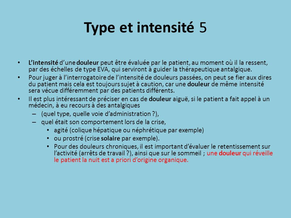 Type et intensité 5