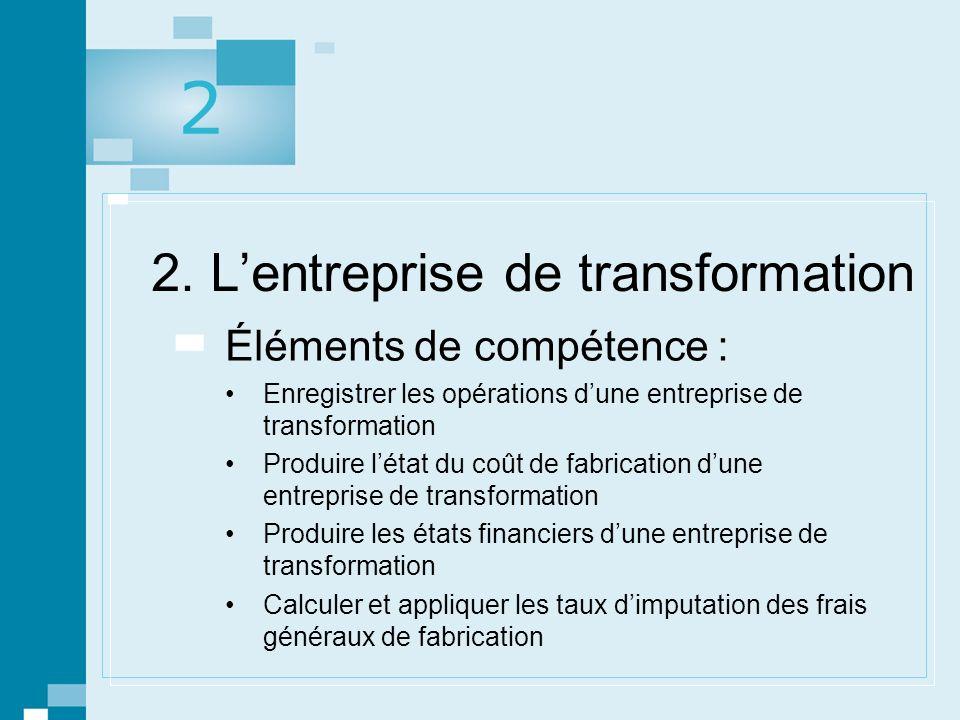 2. L'entreprise de transformation