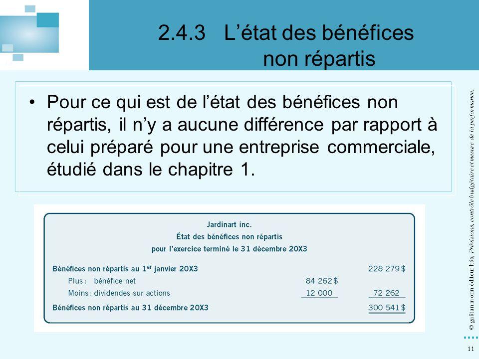 2.4.3 L'état des bénéfices non répartis