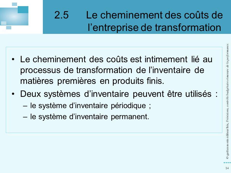 2.5 Le cheminement des coûts de l'entreprise de transformation