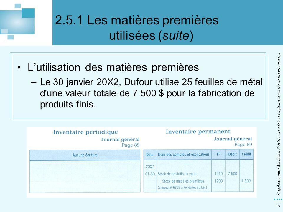 2.5.1 Les matières premières utilisées (suite)