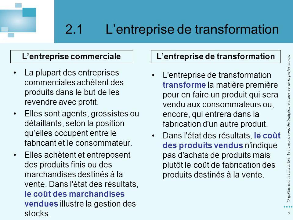 2.1 L'entreprise de transformation