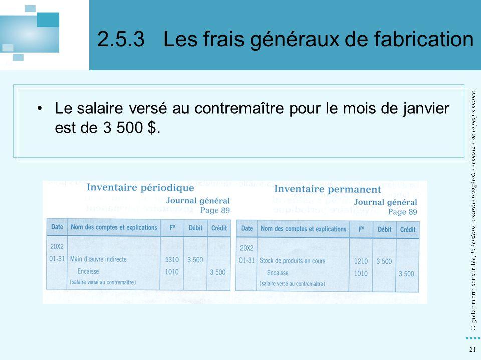 2.5.3 Les frais généraux de fabrication