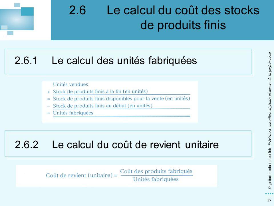 2.6 Le calcul du coût des stocks de produits finis
