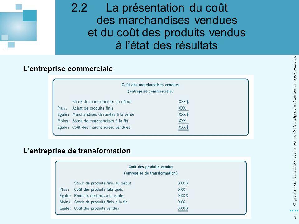 2.2 La présentation du coût des marchandises vendues et du coût des produits vendus à l'état des résultats